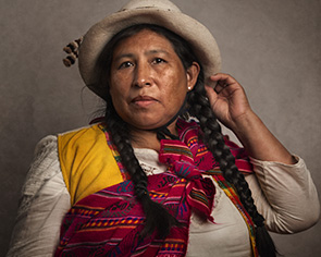 Peruvian Woman with colourful scarf for Ayacucho.