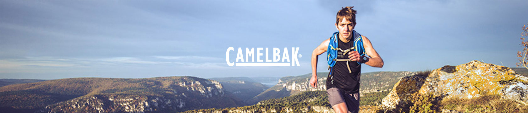 Man running with CamelBak gear.