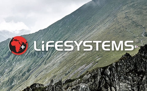 Lifesystems logo and a cliff edge in the background