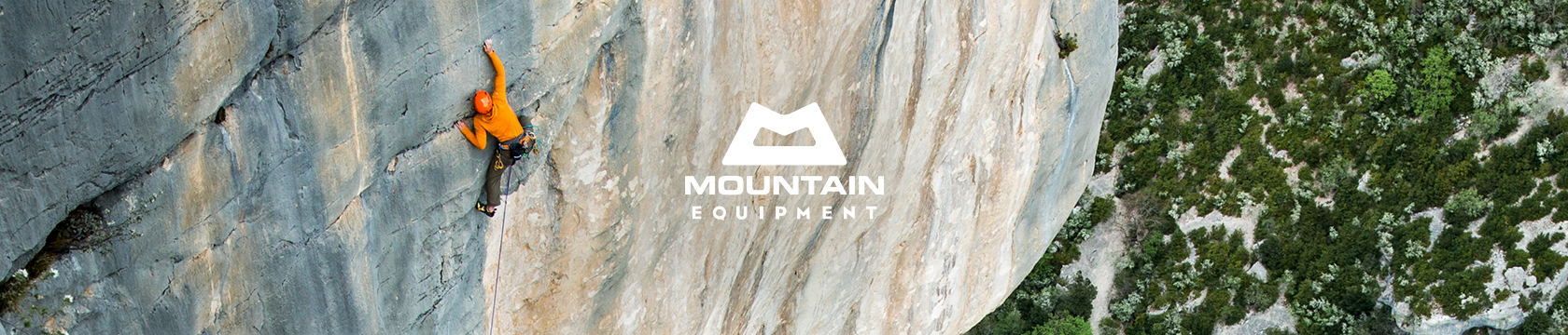Man climbing wearing Mountain Equipment gear.
