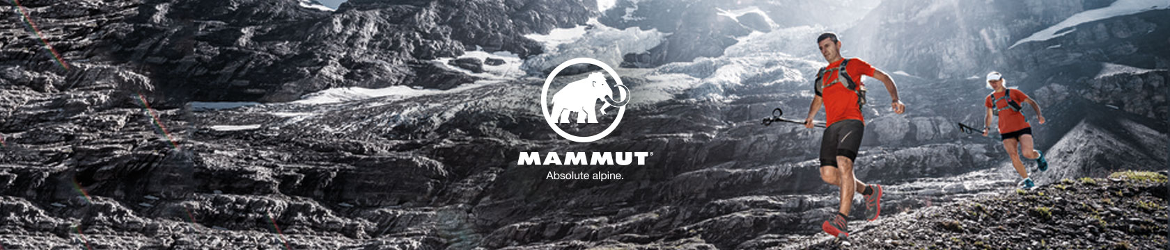Man and woman running with Mammut gear.