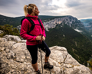 Woman wearing Montane gear overlooks the vista
