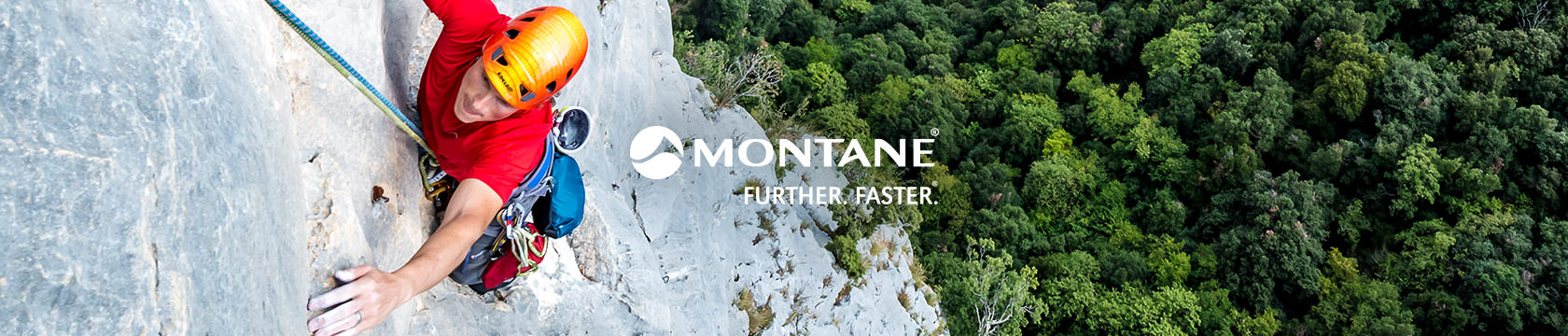 Man climbing wearing Montane gear.