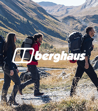 Couple hiking with Berghaus gear.