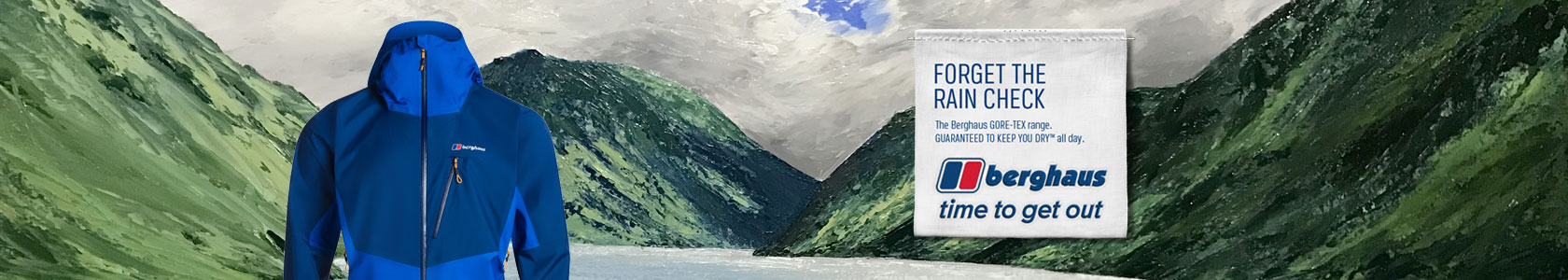 An oil painting of mountains and water on the background with a blue Berghaus jacket on the left and some copy on the right.
