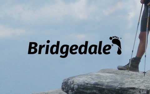 A man is standing on the edge of a big stone, holding trekking poles and wearing Bridgedale socks
