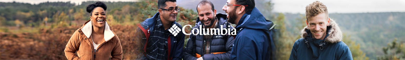 Different people enjoying outdoors, wearing Columbia gear