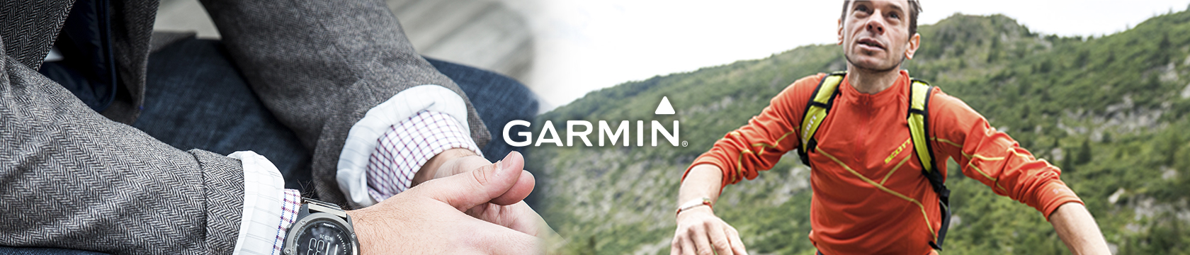 One man's hands and another man's half the body in Garmin gear.