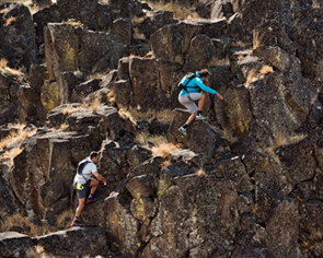 rock climbing in Merrell Gear
