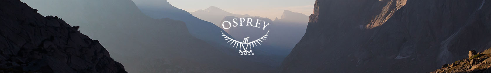 The Osprey logo in the middle of the image with mountains.