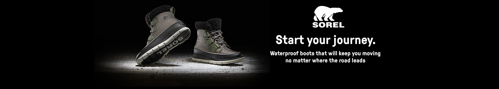 SOREL boots on the black background