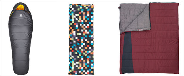 Mummy, Rectangular and Double sleeping bag examples