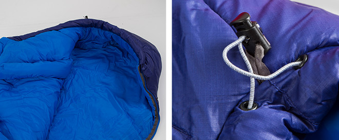 2 close up images of sleeping bag styles