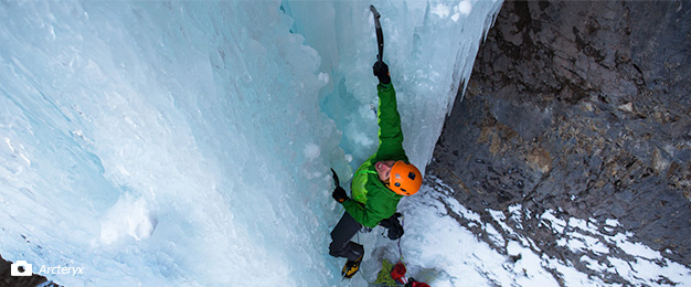 Above view of climber on vertical ice