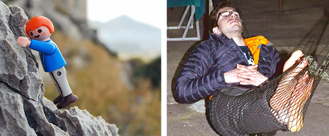 Childs Toy Sits on Rock and Man Sleeps in Hammock