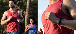 Man running through forest in red running tank top, closer detail of top in second image