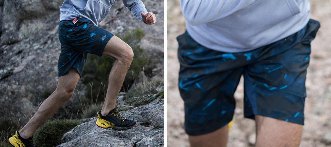 Man running up rocks in North Face Shorts, second image is a closer image to show detail