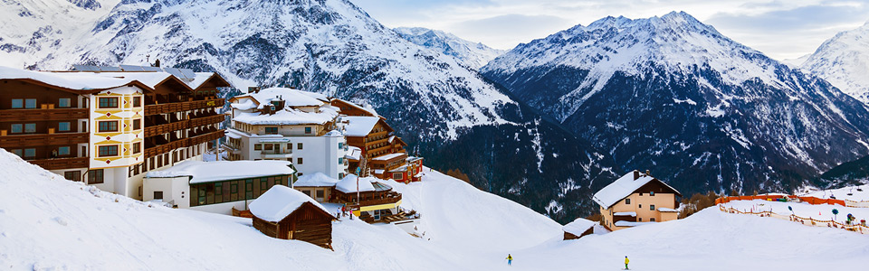 Ski Chalets Covered in Snow