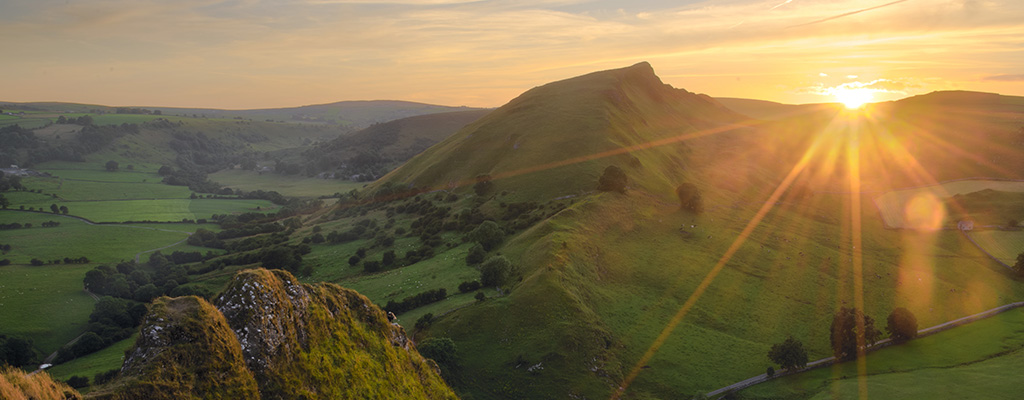 Chrome Hill and Parkhouse Hill in the sunset