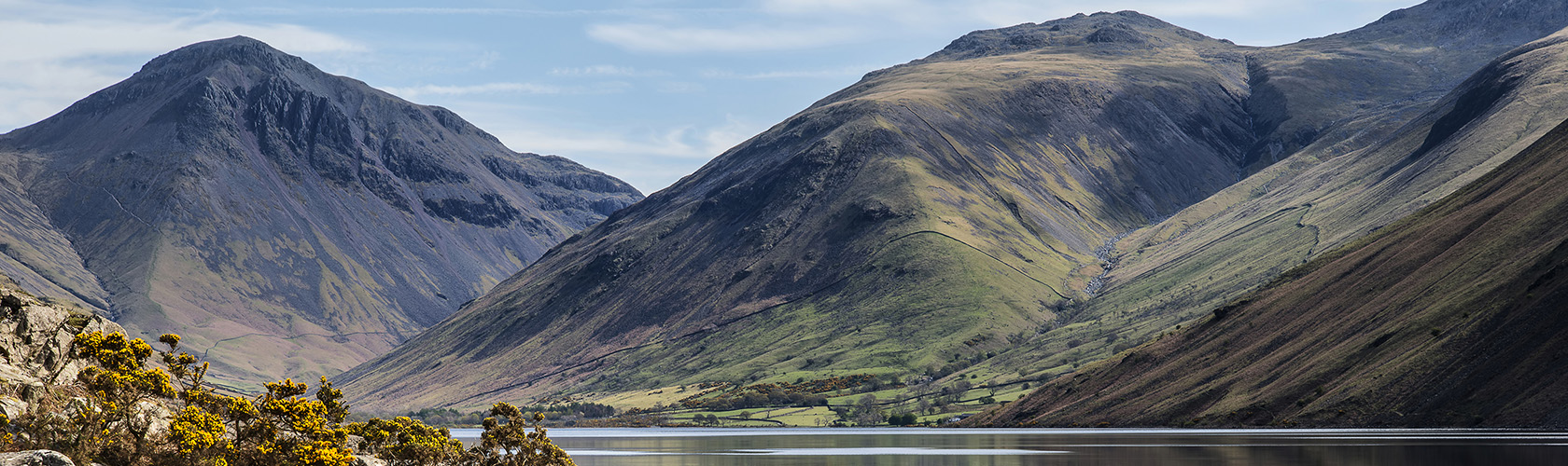 Scafell Pike header image - mountains and lake