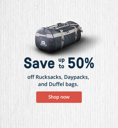 Save up to 50% off Rucksacks, Daysacks, and Duffle bags