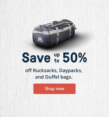 Save up to 50% off Rucksacks, Daysacks, and Duffle bags