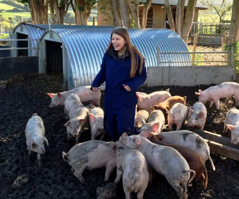 A girl is surrounded by little pigs, eating their food