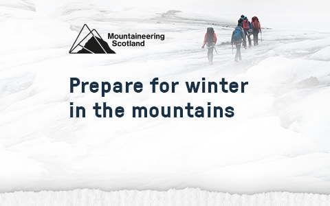 Mountaineering Scotland - people are walking with backpacks in the snow.