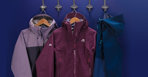Row of Coloured Waterproofs Including Rab and Berghaus