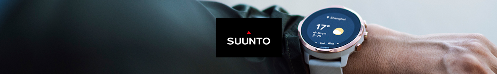 A person's wrist with a Suunto 7 watch and the Suunto logo in the centre of the image.