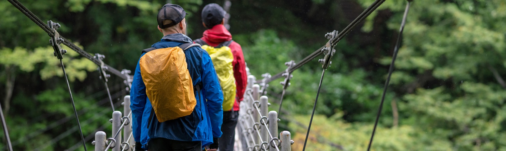 Group walking down mountain in waterproofs